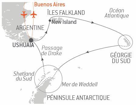 Croisière Îles Falkland, Géorgie du Sud et péninsule Antarctique